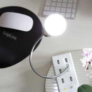 LogiLink USB LED Notebook-Leuchte, Schwanenhals, 6 LEDs