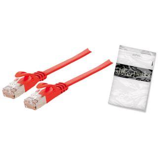 0.50m ShiverPeaks Cat. 7 Rohkabel Patchkabel flach S/FTP PiMF RJ45 Stecker auf RJ45 Stecker Rot halogenfrei / vergoldet