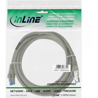 (€1,19*/1m) 15.00m InLine Cat. 6a Patchkabel S/FTP PiMF RJ45 Stecker auf RJ45 Stecker Grau halogenfrei