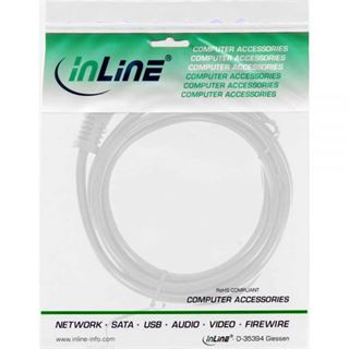 InLine Netzkabel, Schutzkontakt gewinkelt auf Kaltgerätestecker C13, weiß, 3m